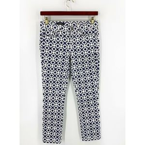 J Crew Toothpick Jeans 28 Ankle Printed Navy Blue